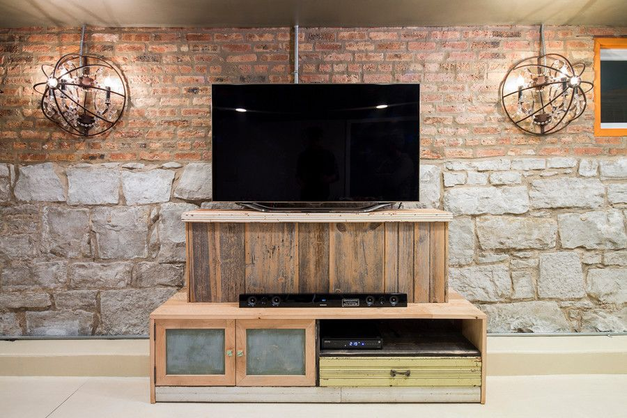 Unclaimed Furniture for a Eclectic Basement with a Industrial and Reclaimed by Foundre: Made