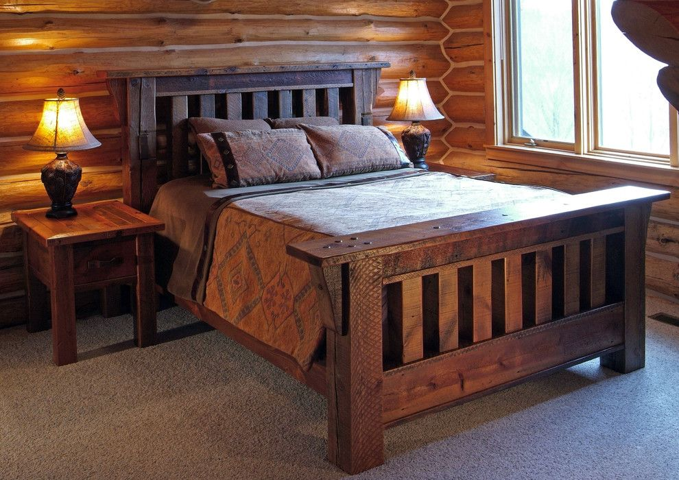 Unclaimed Furniture for a Eclectic Bedroom with a Reclaimed Wood Furniture and Reclaimed Barnwood Handcrafted Furniture by Woodland Creek Furniture