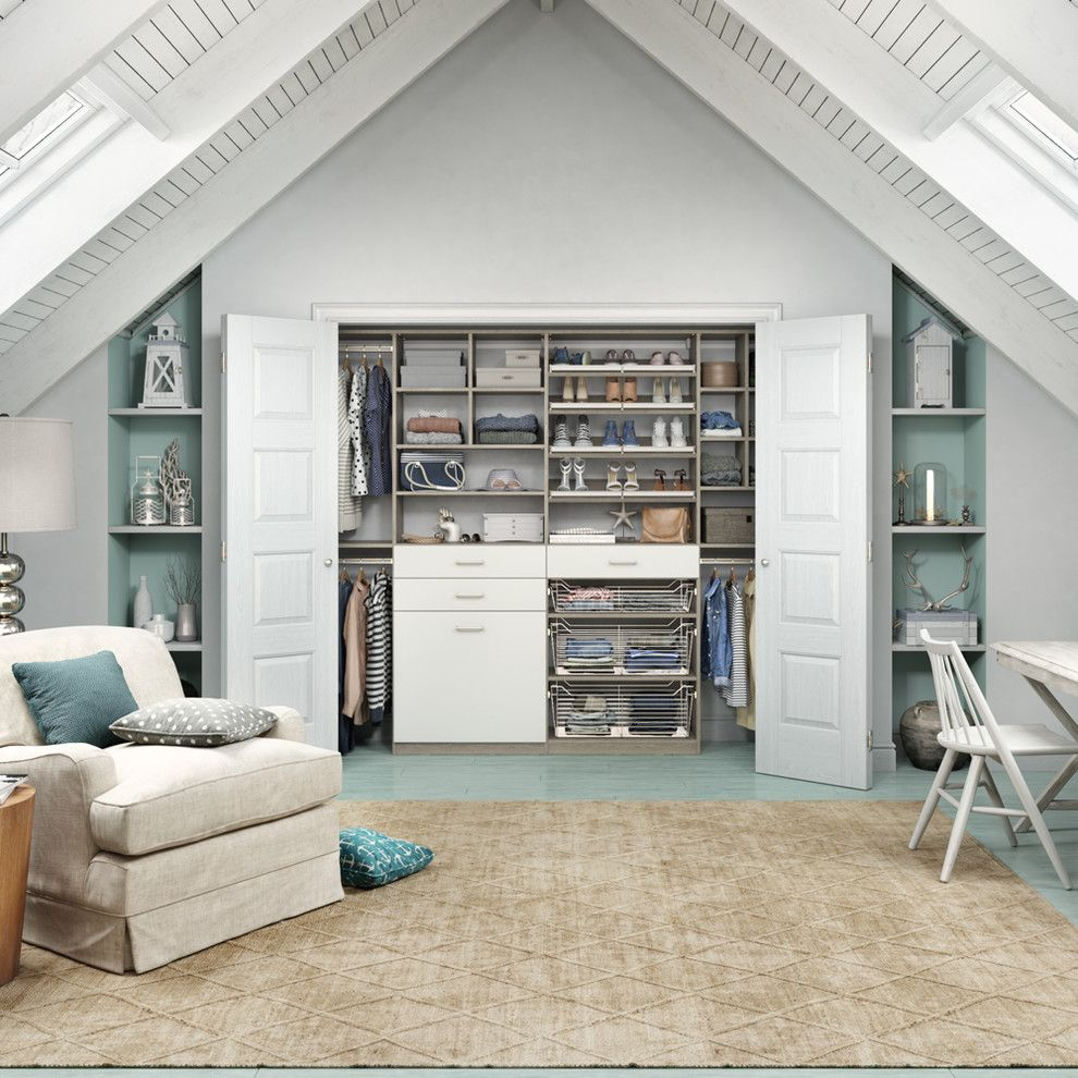 Unclaimed Furniture for a Traditional Bedroom with a Vaulted Ceiling and Traditional Bedroom by Californiaclosets.com
