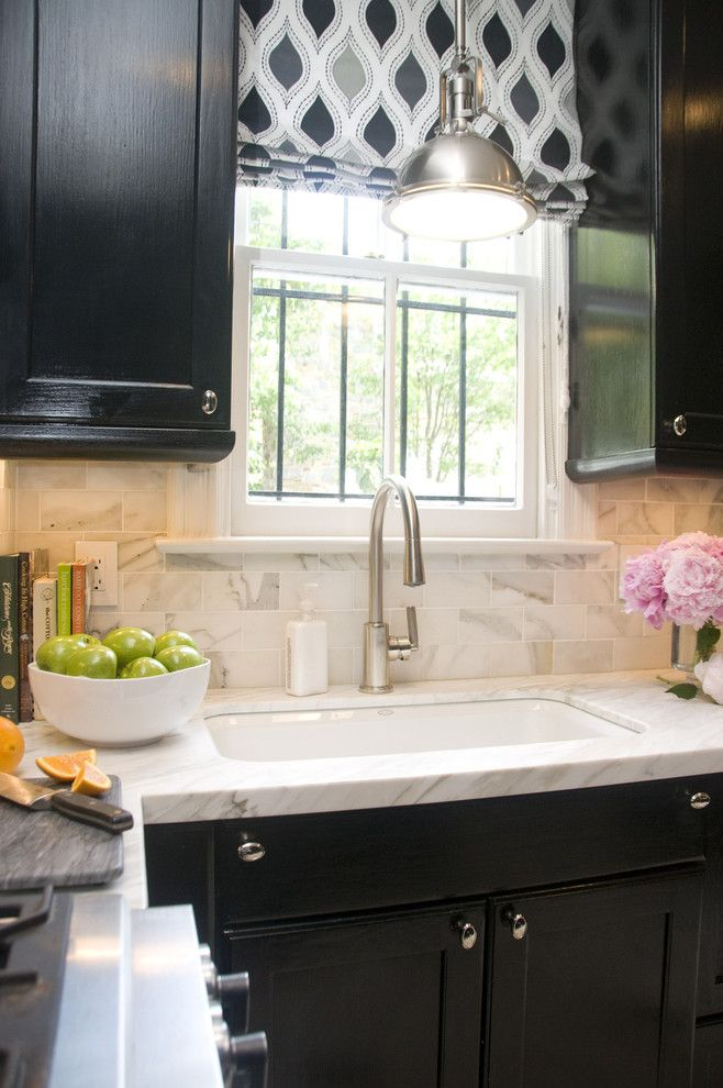 Unclog Kitchen Sink for a Transitional Kitchen with a Under Cabinet Lighting and Georgetown Townhouse by Zoe Feldman Design, Inc.