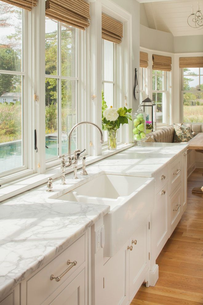 Unclogging a Sink for a Beach Style Kitchen with a Windows and Shoreline Kitchen by Connecticut Stone