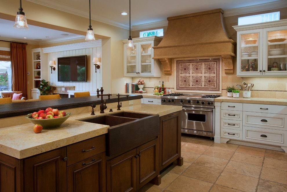 Unclogging a Sink for a Mediterranean Kitchen with a Under Cabinet Lighting and Mediterranean Haven by Cindy Smetana Interiors
