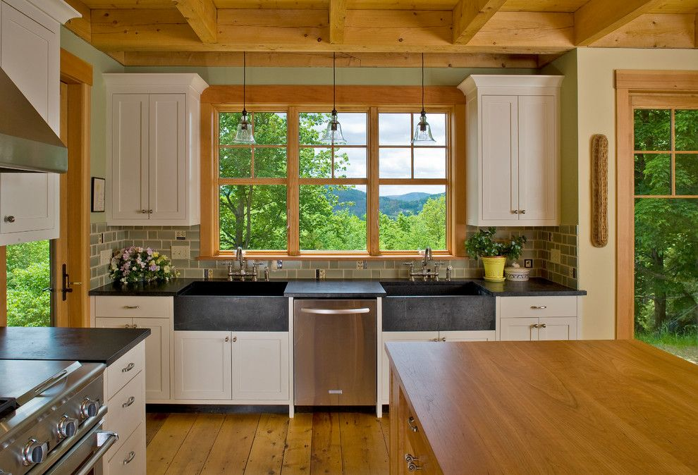 Unclogging a Sink for a Traditional Kitchen with a Double Apron Sinks and Vermont Hilltop Home by Haynes & Garthwaite Architects