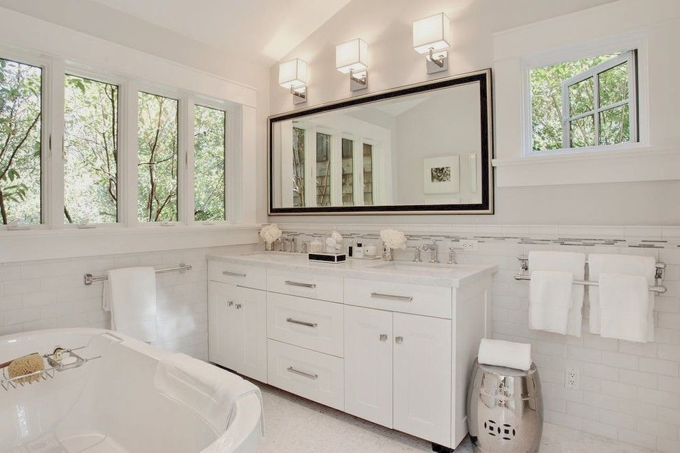 Unclogging a Sink for a Transitional Bathroom with a White Walls and Mill Valley, Ca by Urrutia Design