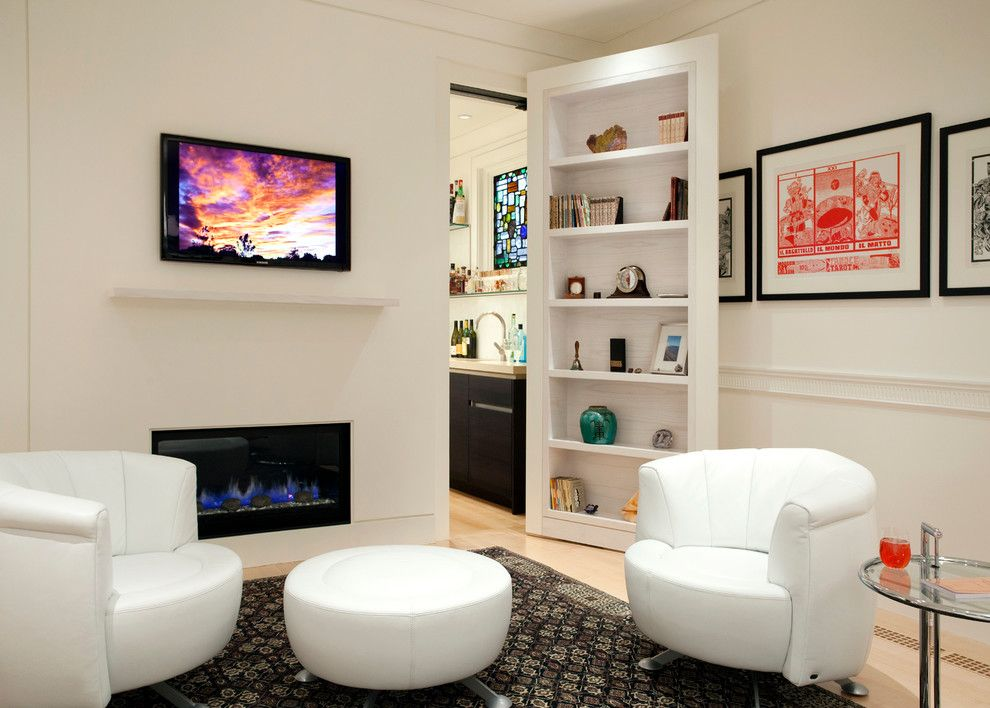 Uncommon Goods.com for a Contemporary Living Room with a White Mantel and Last House on the Left by Siemasko + Verbridge