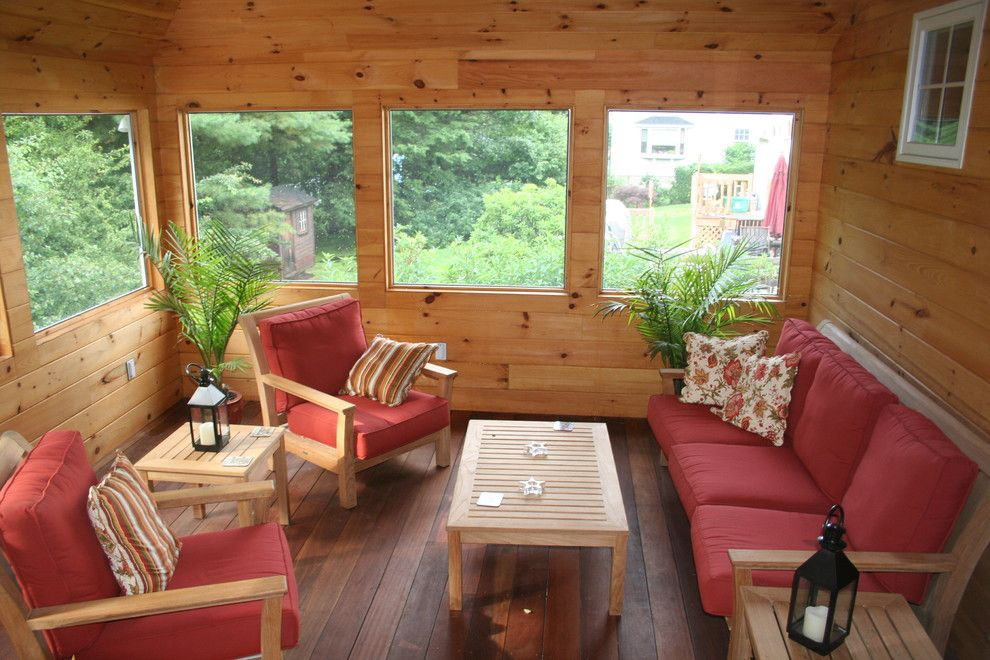 Uncommon Goods.com for a Rustic Sunroom with a Decorative Pillows and Kevinallencarpentry.com by Tammy Allen
