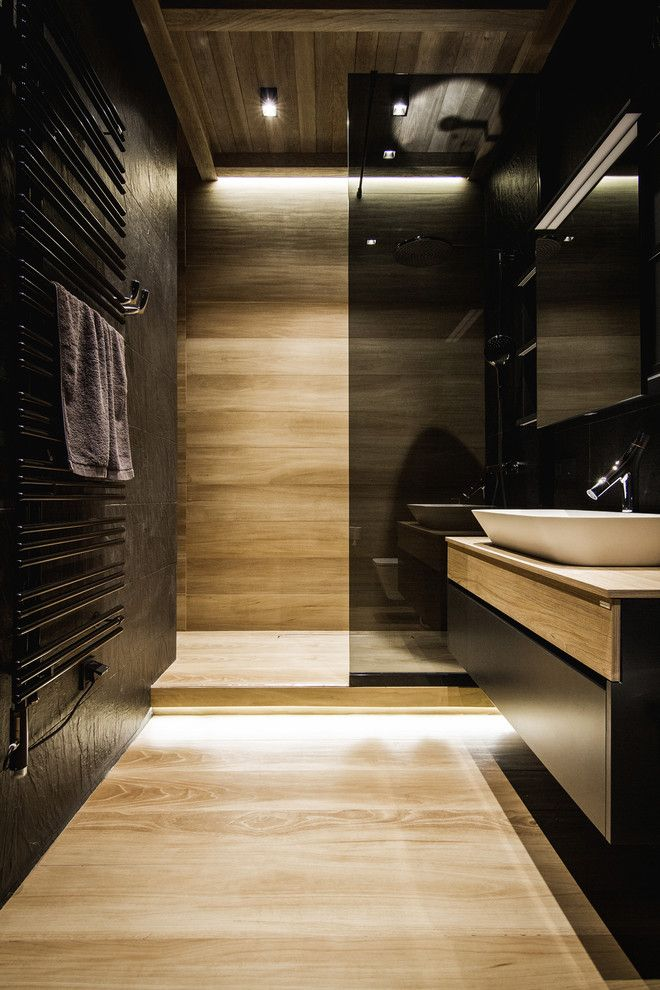 United Artist Farmingdale for a Contemporary Bathroom with a Black Glass and Apartment Artist by YØdezeen