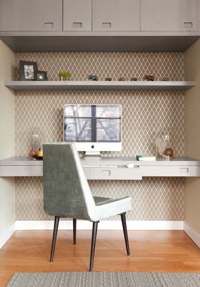 United Artist Farmingdale for a Contemporary Home Office with a Light Wood Floors and Artist's Living Room by Mercer Interior