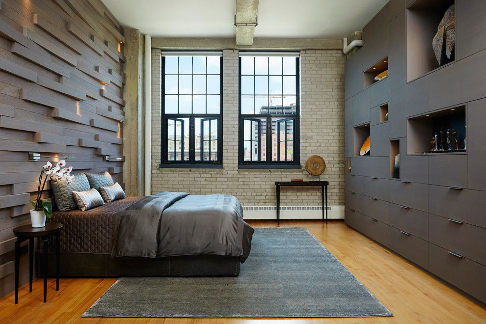 United Artist Farmingdale for a Industrial Bedroom with a Exposed Brick and Private Loft by MSR Design