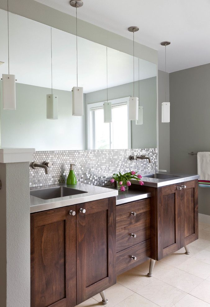 United Artist Farmingdale for a Transitional Bathroom with a Pendants and North Boulder Residence by Iba Design Associates