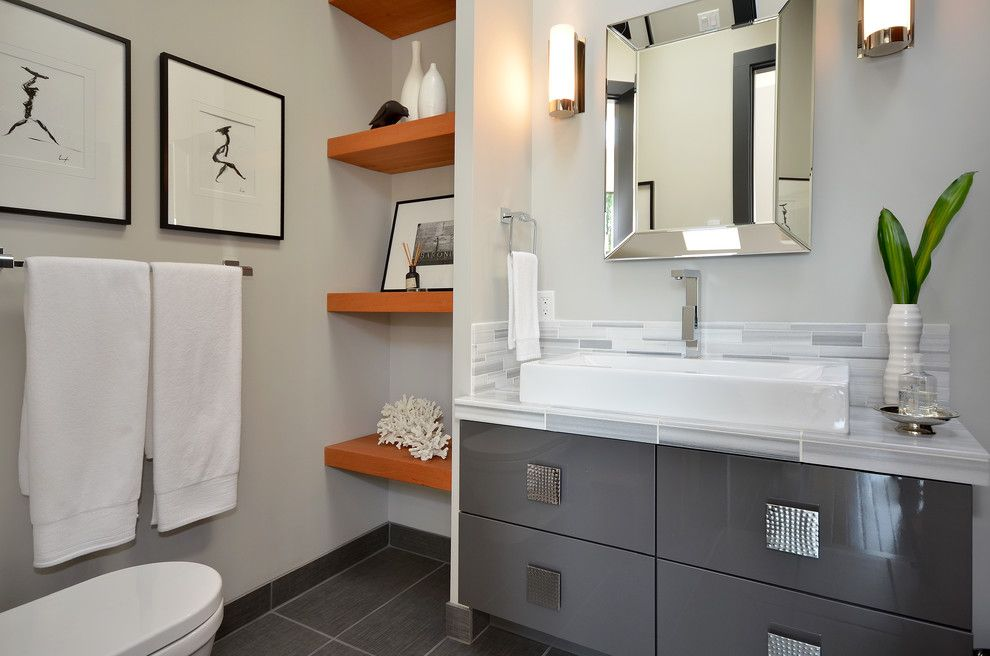 United Artists Farmingdale for a Contemporary Bathroom with a Gallery Wall and Dawna Jones Design by Dawna Jones Design