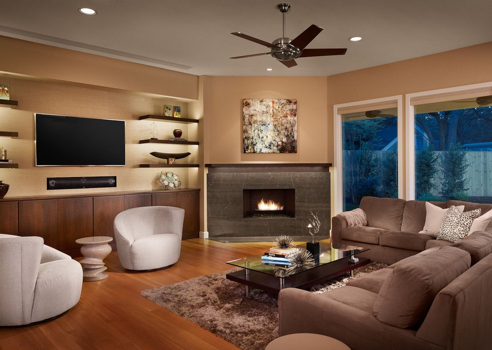 United Artists Farmingdale for a Contemporary Living Room with a Round Back Rest Chair and Northwest Hills Remodel by Laura Burton Interiors