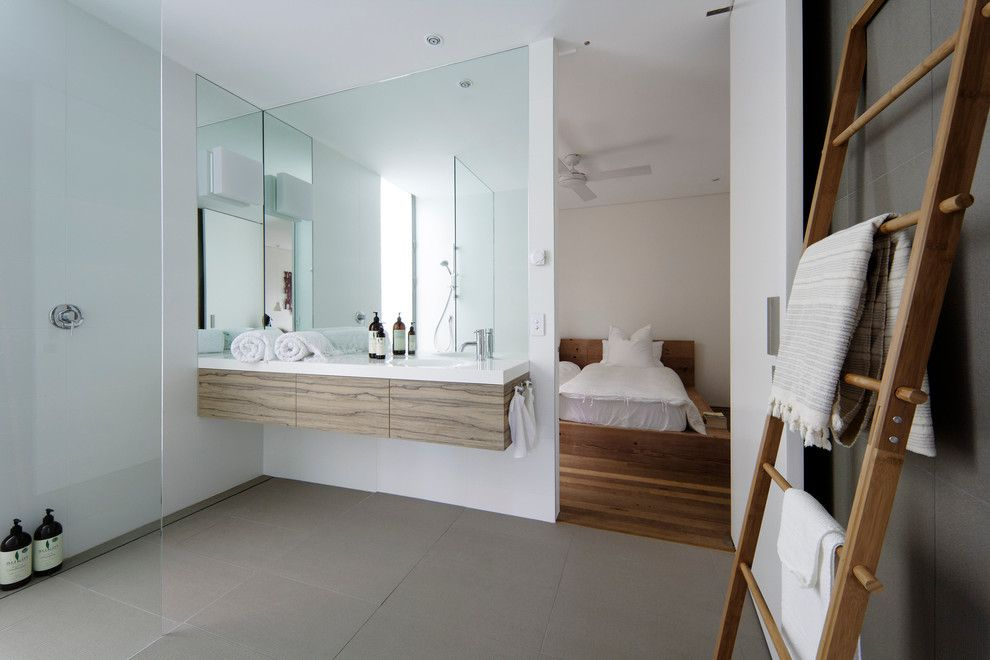 United House Wrecking for a Contemporary Bathroom with a Wood Bed and Saville Isaac   Central Coast Beach House by Minosa