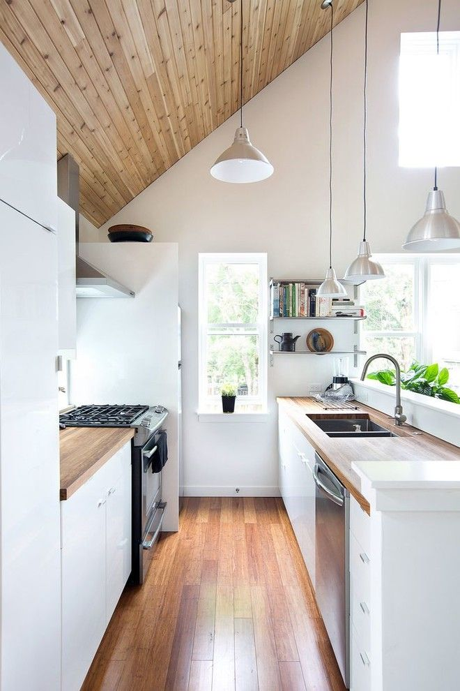 United House Wrecking for a Scandinavian Kitchen with a Narrow Kitchen and Kitchens by Apt Renovation Limited