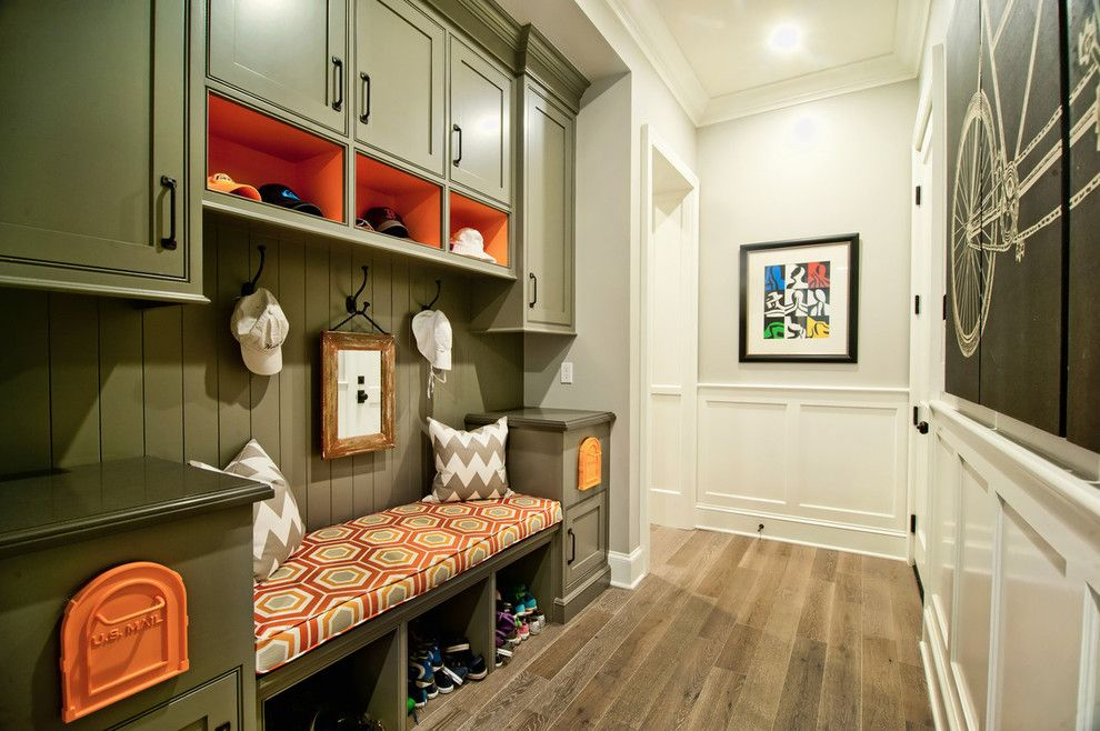 Usps Mailbox Height for a Traditional Hall with a Upholstered Seat Bench and Breezy Brentwood by Jill Wolff Interior Design