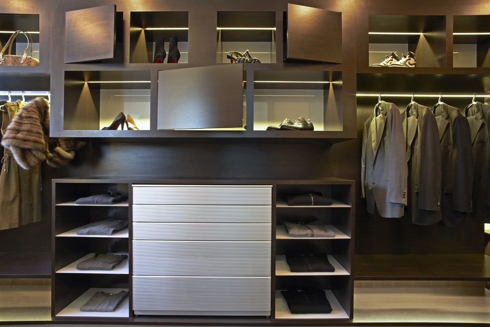 Valance Definition for a Contemporary Closet with a Storage Cubbies and Strause by Lisa Adams, La Closet Design