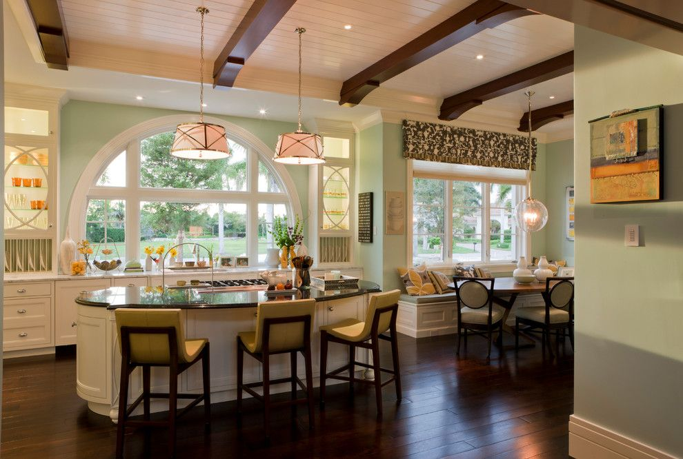 Valance Definition for a Transitional Kitchen with a Drum Pendant Light and Tranquil Eclectic Residence by Deakins Design Group