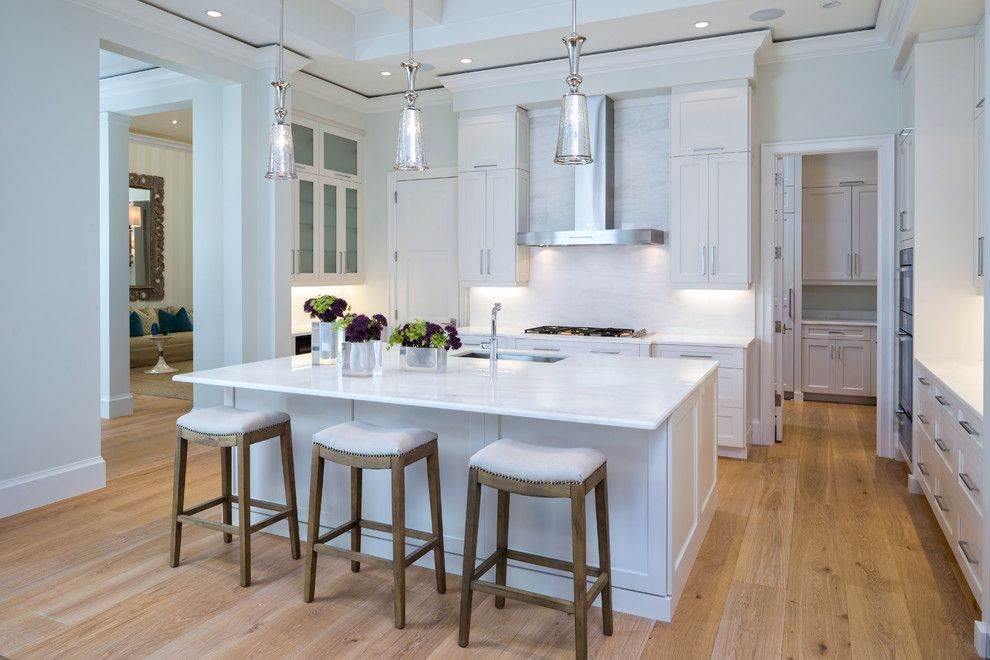 Valance Definition for a Transitional Kitchen with a White Kitchen and Gallery 35 - Legno Bastone Wide Plank Flooring by Legno Bastone Wide Plank Flooring