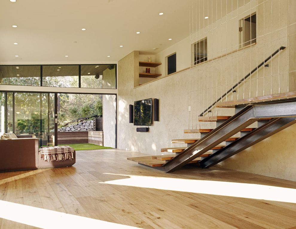 Valley Ag and Turf for a Modern Living Room with a Subterranean Garage and Mill Valley Contemporary Living Room by Daniel Hunter Aia Hunter Architecture Ltd.