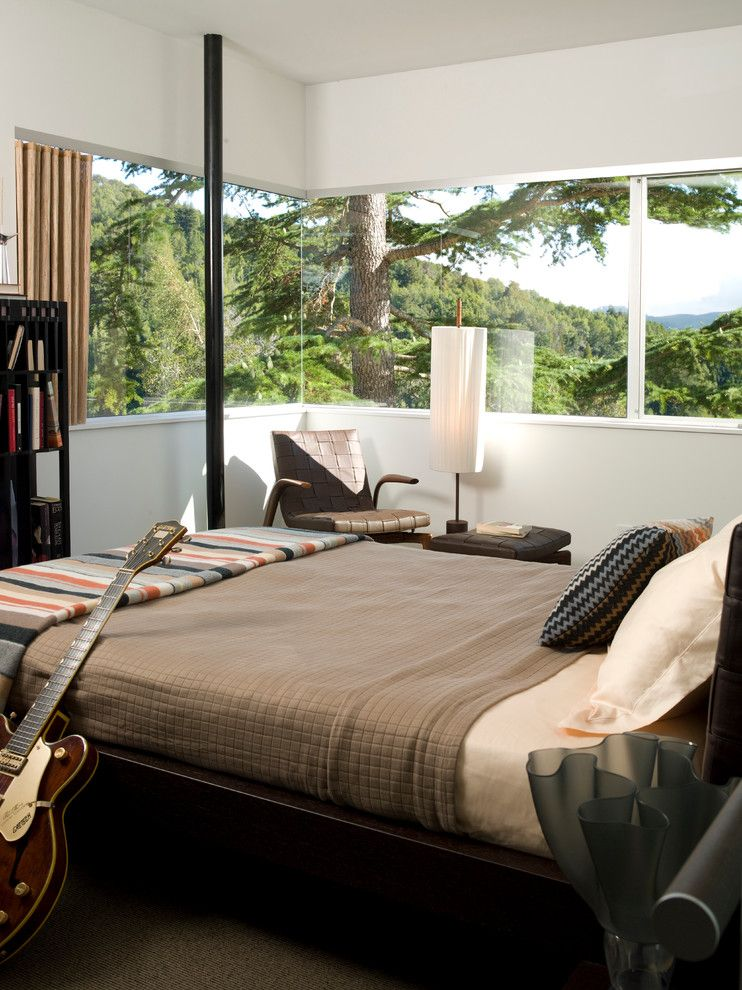 Valley View Theater for a Modern Bedroom with a Designer Furniture and Mill Valley Golf Course Overlook by Suzette Sherman Design
