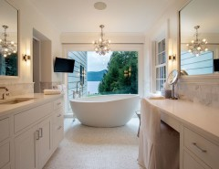 Valley View Theater for a Transitional Bathroom with a Freestanding Bathtub and Master Bathroom by Phinney Design Group