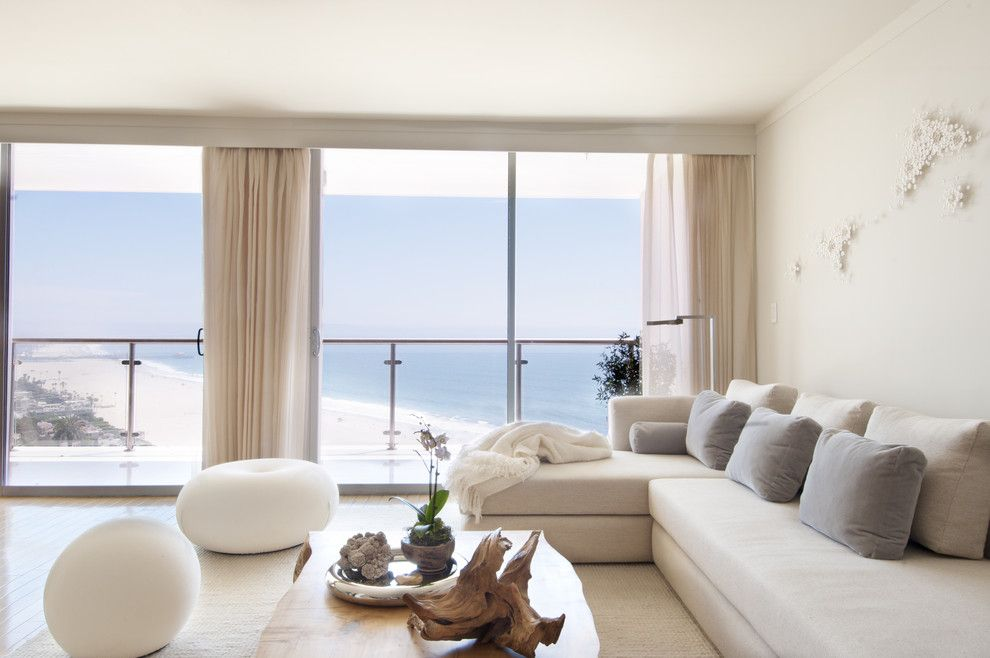 Valliance Bank for a Contemporary Living Room with a Drapery and Ocean Avenue Penthouse by Sarah Barnard Design