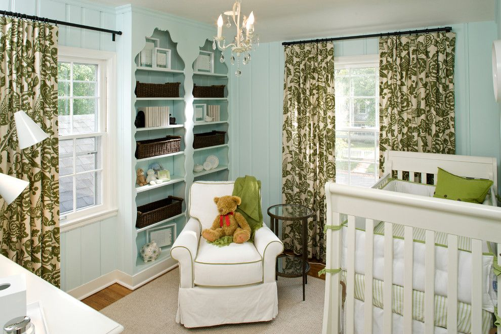 Valspar Color Chart for a Traditional Nursery with a Chandelier and Children's Rooms by INVIEW Interior Design
