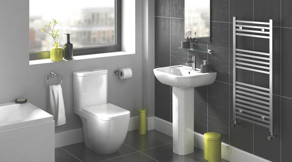 Valspar Colors for a Contemporary Bathroom with a Bath and Clancy Bathroom Suite by B&q
