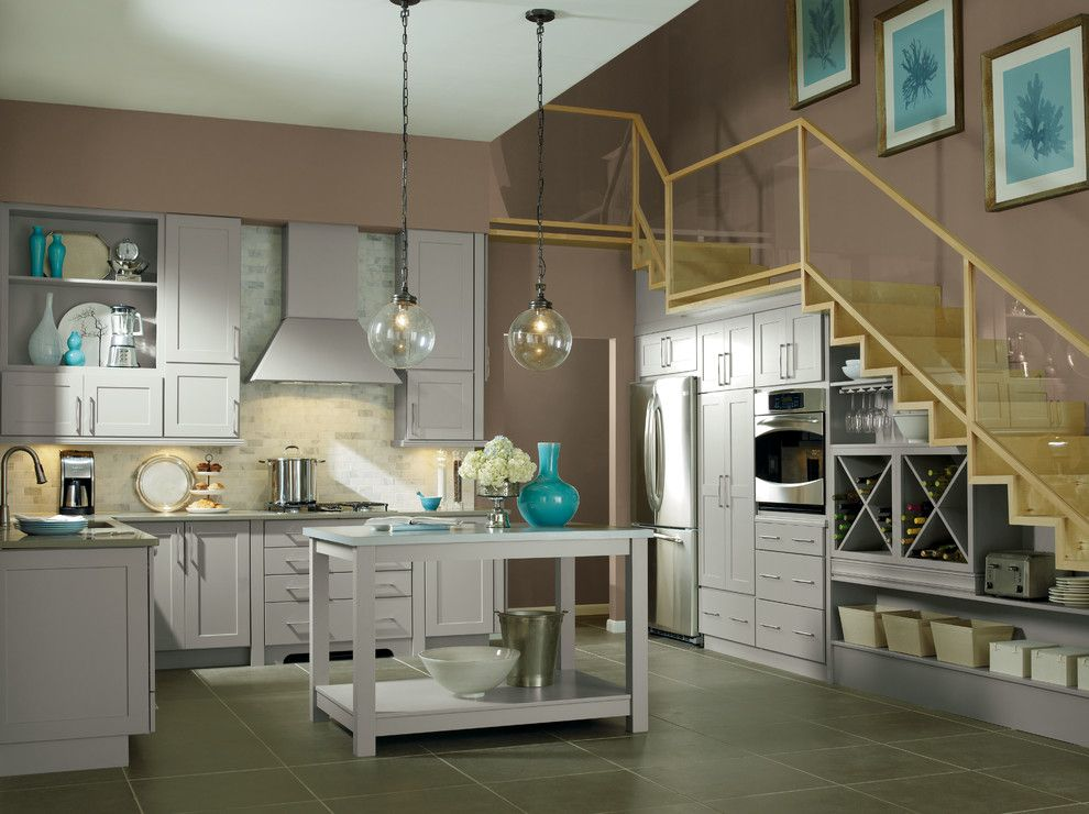 Valspar Colors for a Contemporary Kitchen with a Shaker Style and Kemper Kitchens by Capitol District Supply