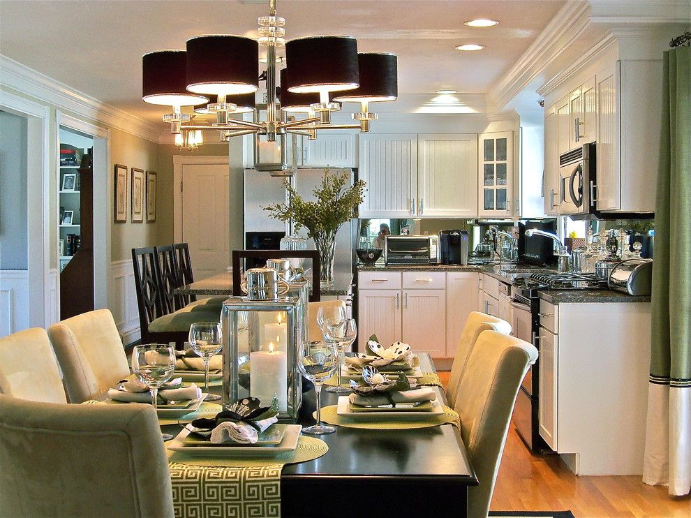 Vantage Lighting for a Contemporary Kitchen with a Centerpiece and Portfiloi by Stacy Curran