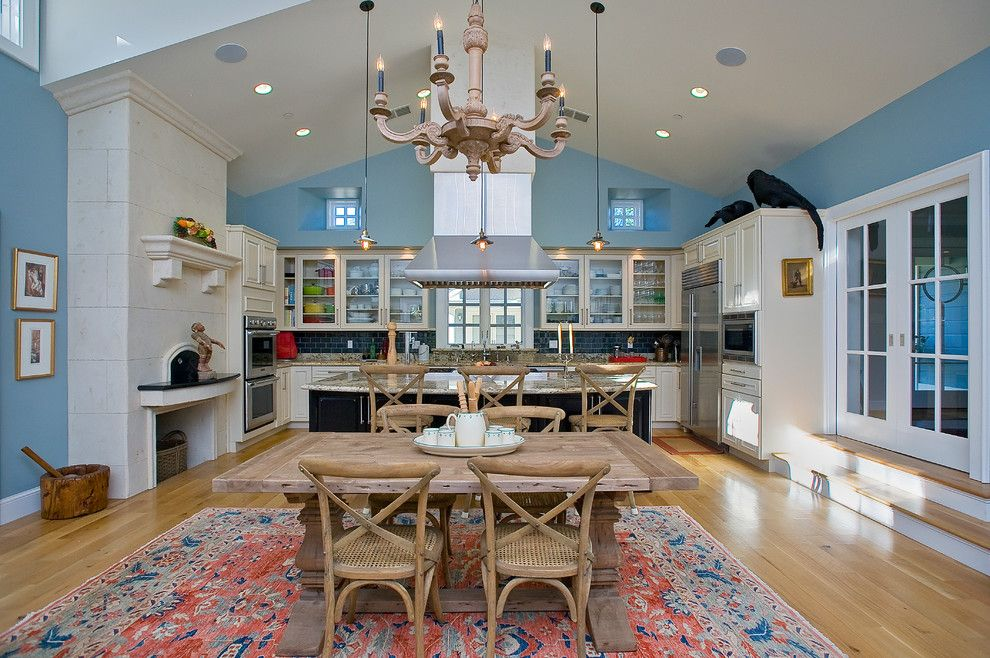 Vantage Lighting for a Farmhouse Kitchen with a Blue Walls and Sonoma Revival by Marcus & Willers Architects
