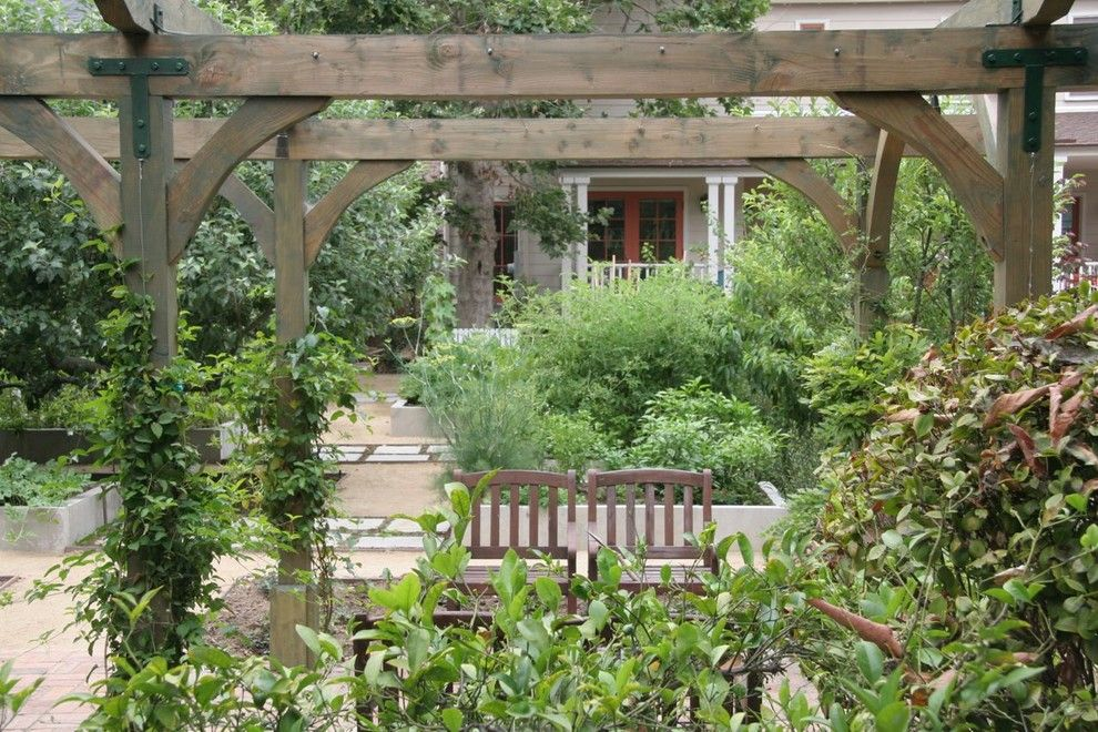 Vegetable Garden Planner for a Traditional Landscape with a Cercis and Victorian Edible Garden   South Pasadena by Ecocentrix Landscape Architecture