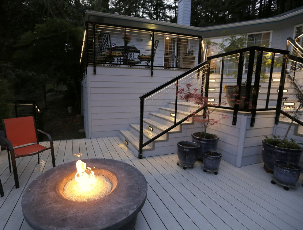 Velvet Rope Portland for a Modern Spaces with a Firetable and Modern Aluminum Deck by G. Christianson Construction, Inc.