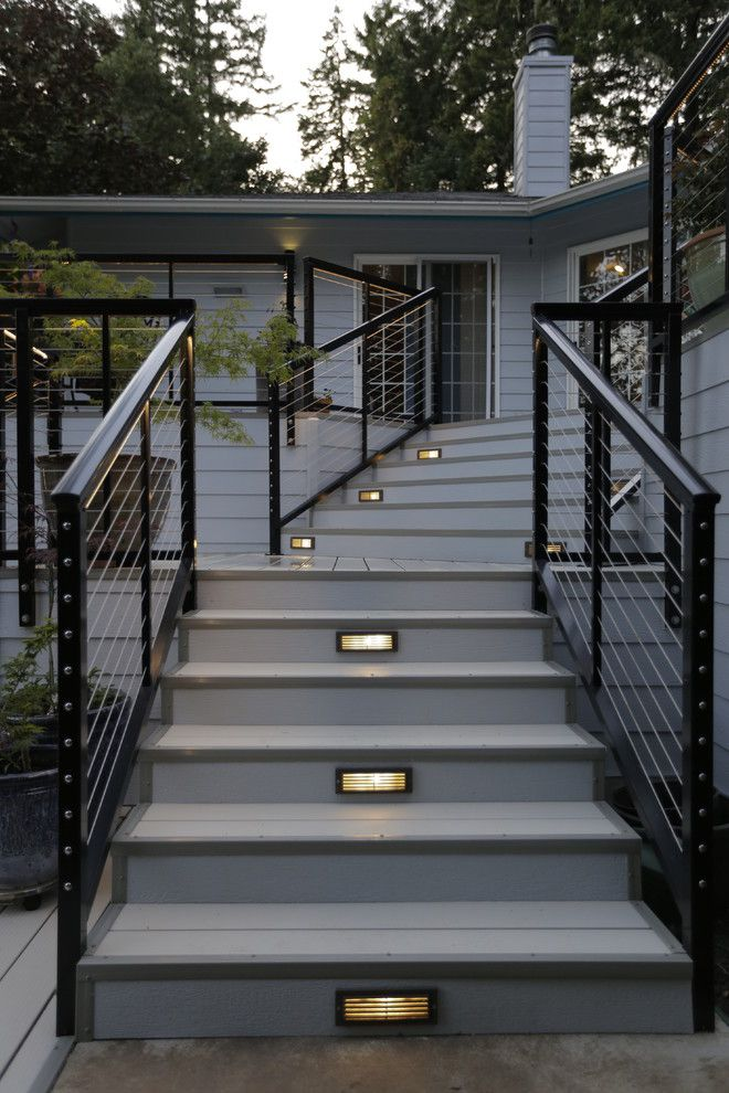 Velvet Rope Portland for a Modern Spaces with a Tri Level Deck and Modern Aluminum Deck by G. Christianson Construction, Inc.