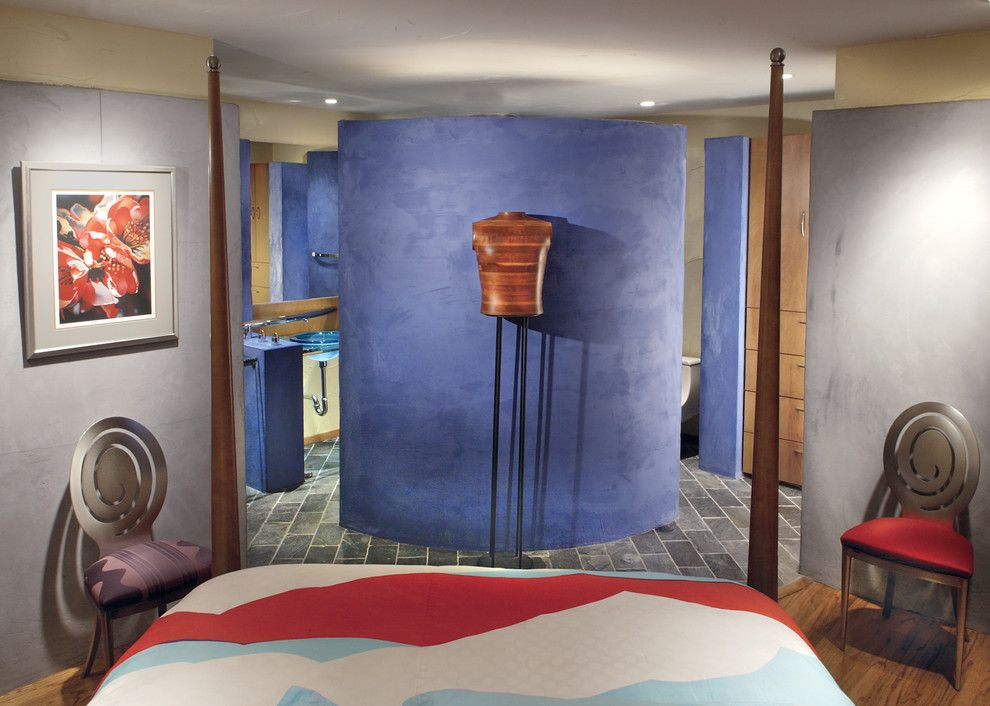 Veneer Plaster for a Contemporary Bedroom with a Orr Design Office and Blue Plaster Veneer on Bedroom Side of Bedroom Area Separation Wall. by Orr Design Office, Inc.