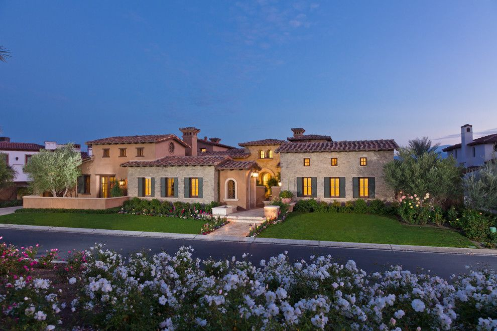 Veneer Plaster for a Mediterranean Exterior with a Windows and Tuscan Farmhouse 4 by South Coast Architects, Inc.