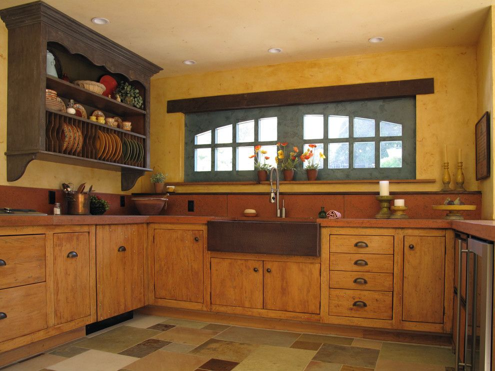 Venetian Nj for a Rustic Kitchen with a Rustic and French Country Kitchen by Fitzgerald Studio