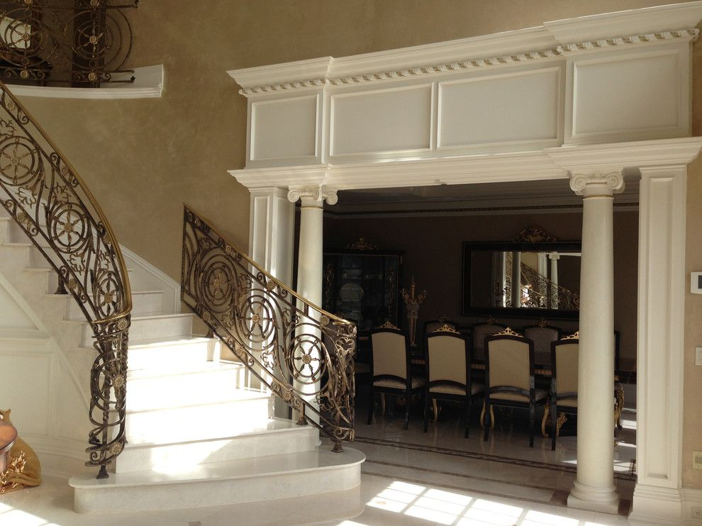 Venetian Nj for a Traditional Entry with a Faux Marble Finish and Venetian Plaster in Entire Home in Holmdel Nj by Sg Decorative Painting and Murals