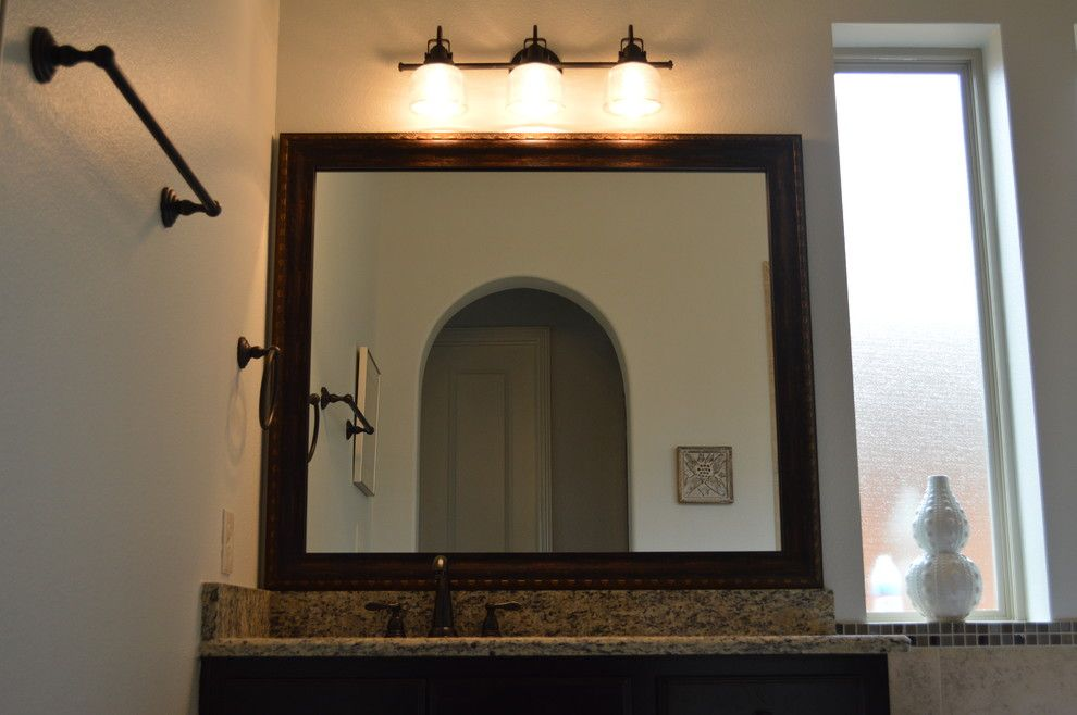 Veritas Houston for a Contemporary Bathroom with a Mirror Frames and Before and After Photos by Mirrorcle Frames Houston