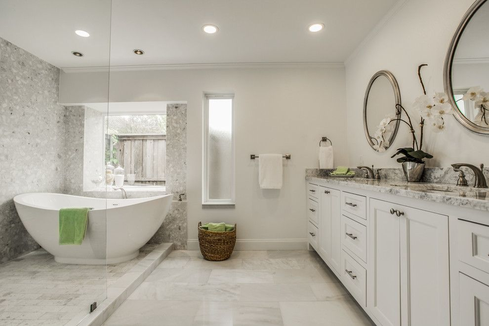 Verona Walk for a Modern Bathroom with a Arabescatobianco and John's North Dallas Home by Verona Marble Company