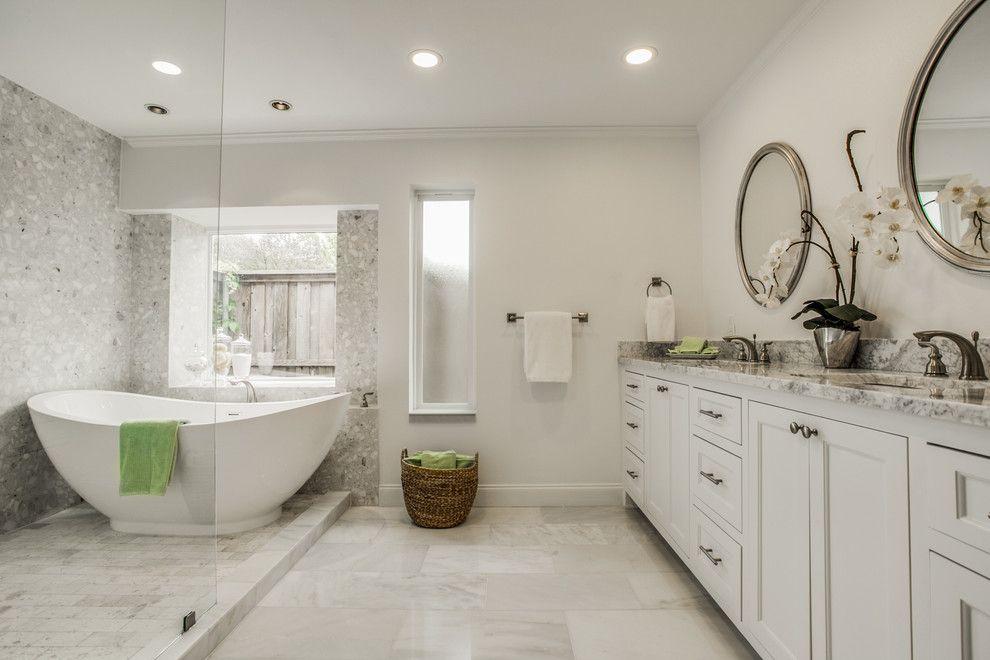Verona Walk for a Modern Bathroom with a Arabescatobianco and John's North Dallas Home by Verona Marble Company