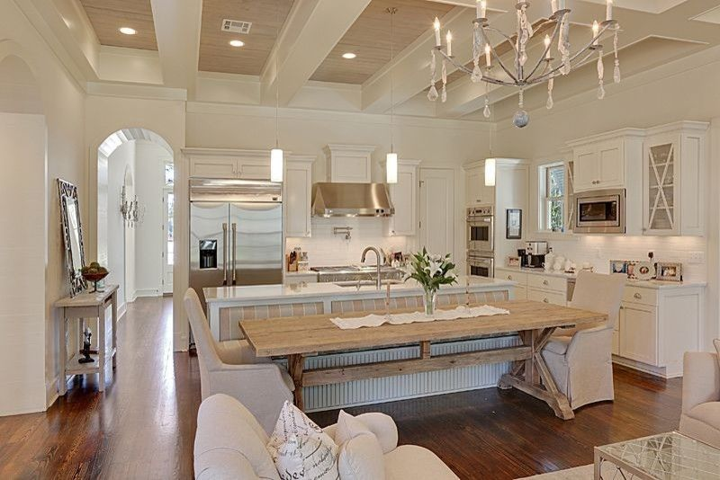 Verona Walk for a Traditional Kitchen with a Chandelier and Private Residence, St. Tammany Parish by Piazza Architecture Planning Apac
