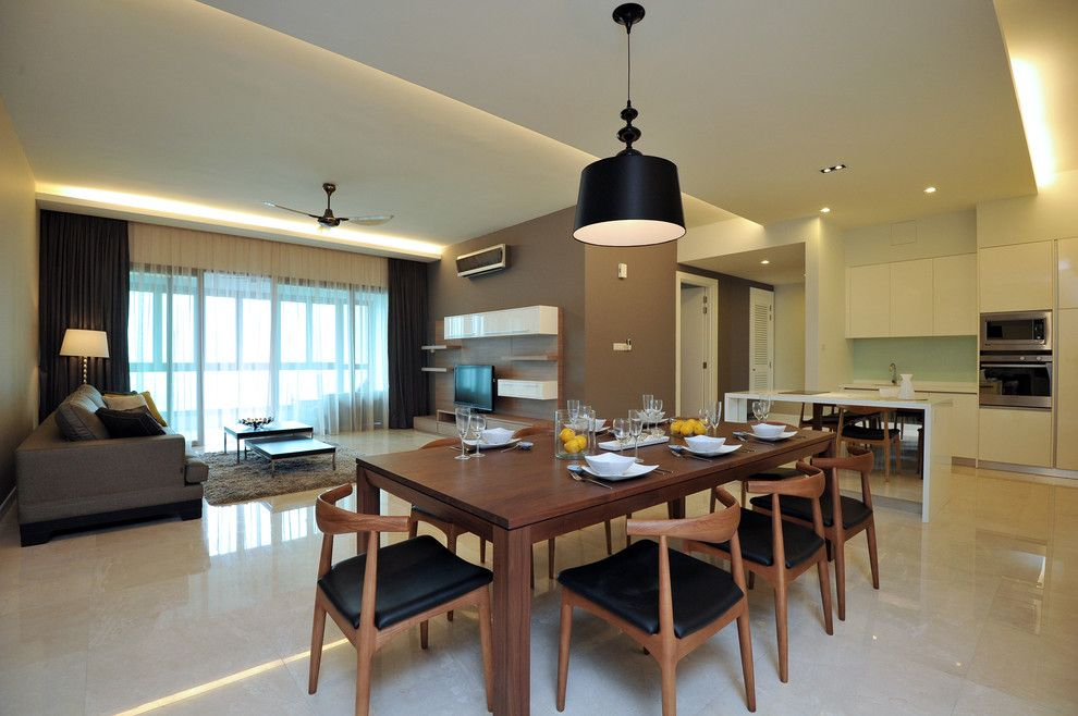Victors Lighting for a Contemporary Dining Room with a White Cabinets and Seni Kiara by Senihomes