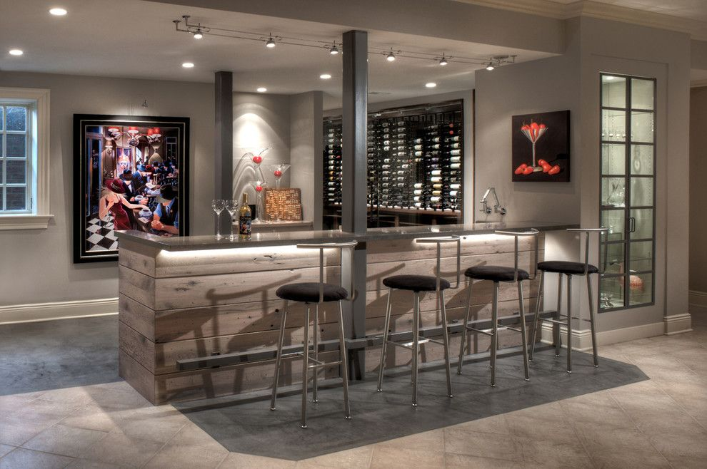 Victors Lighting for a Modern Wine Cellar with a Modern and Wine Cellar   Bar by Michael Gharrity
