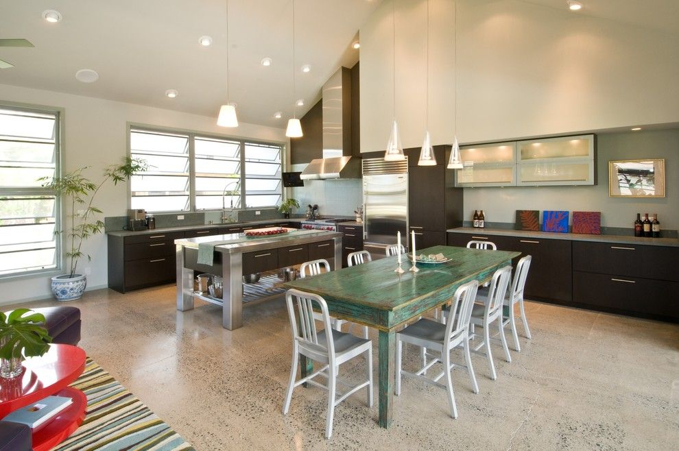 Victors Lighting for a Tropical Kitchen with a Wall Decor and the Neoteric Classic by Archipelago Hawaii Luxury Home Designs