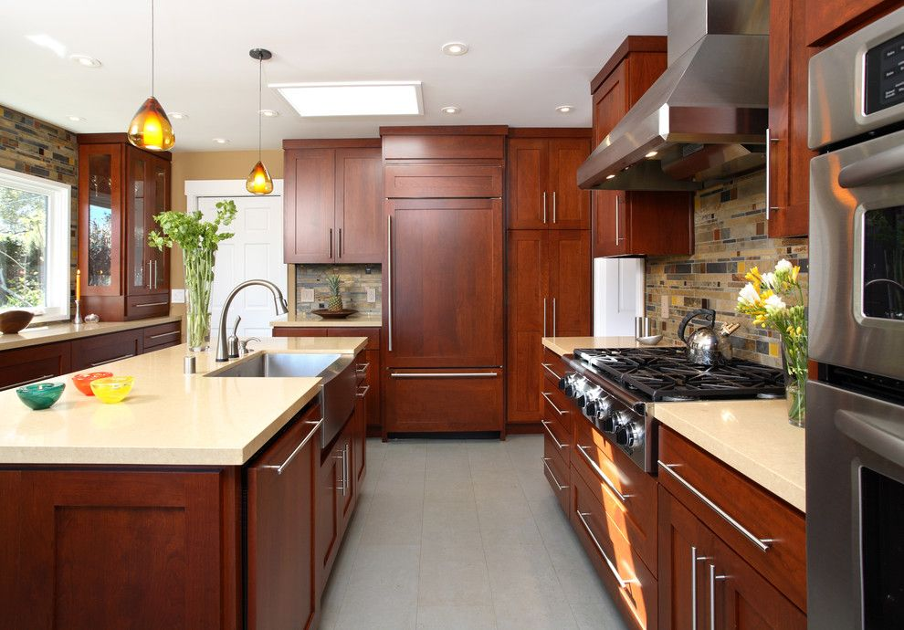 Vigo Industries for a Contemporary Kitchen with a Farm House Sing and #56 - Eye 4 Design - Menlo Park by Precision Cabinets