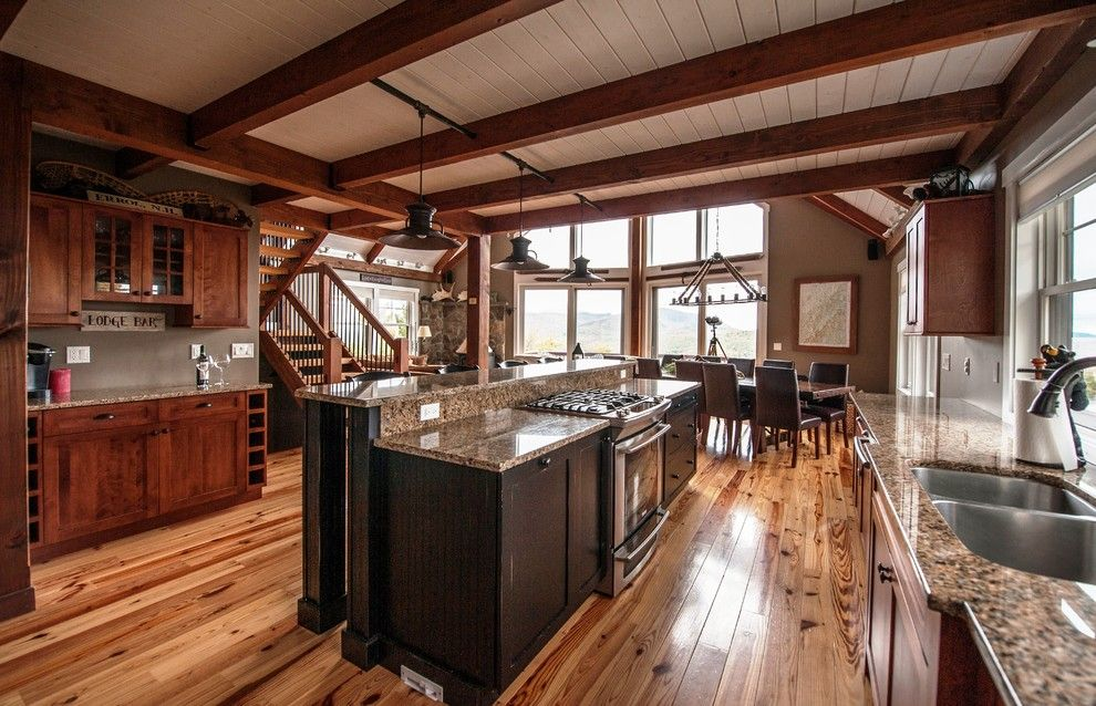 Vigo Industries for a Rustic Kitchen with a Open Floor Plan and Moose Ridge Lodge Post and Beam by Yankee Barn Homes