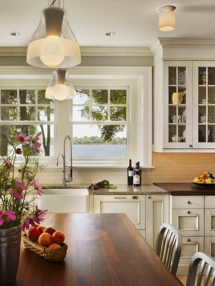 Vigo Industries for a Traditional Kitchen with a Subzero and Private Residence on the Delaware River by Kass & Associates