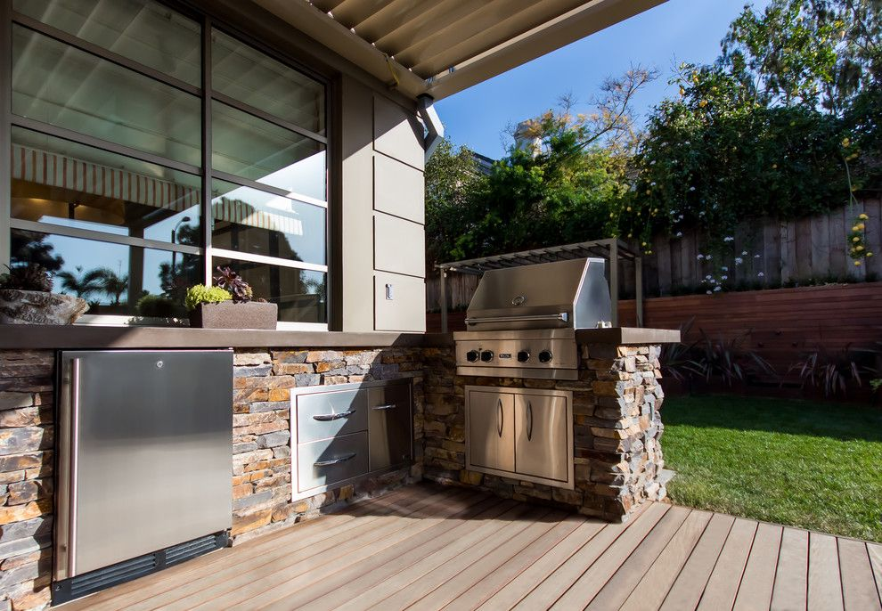 Viking Fence for a Contemporary Patio with a Louver Patio Cover and Port Streets   Newport Beach by Studio H Landscape Architecture