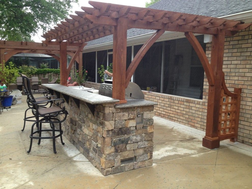 Viking Fence for a Traditional Patio with a Pavilion and Outdoor Kitcnen by My Outdoor Rooms